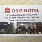 ベトナム・ハノイ ホテルチェックイン時にすること→ホテルのビジネスカードを持っていくこと